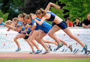 Die Zahl der Jugendlichen und jungen Erwachsenen, die sich nie sportlich betätigen, ist gestiegen. Im Bild: 80-m-Rennen der Damen am Schweizerischen Schulsporttag 2014 in Sarnen. (Bild: Keystone/Urs Flüeler)
