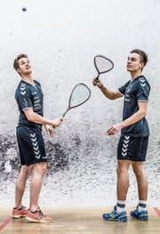 Patrick Miescher (27, links) und Roman Allinckx (19) im Sportpark Pilatus im Krienser Schlund. (Bild: Nadia Schärli (14. Februar 2018))