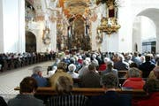 Gottesdienst in der Klosterkirche in Einsiedeln. (Bild: Keystone/Urs Flüeler)