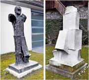 Der «Grosse Stehende» aus Bronze und die «Grosse Skulptur» aus Marmor im Garten des Kunsthauses erinnern an die Verbundenheit Wotrubas mit Zug. (Bild: Werner Schelbert / Neue ZZ)