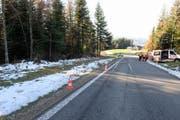 Der Autofahrer kam von dieser Strasse ab und prallte in ein Waldstück... (Bild: Luzerner Polizei (Entlebuch, 22. November 2017))