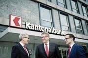 Die Führungsspitze der NKB: (von links) Philipp Müller, Christian Waser und Heinrich Leuthard. (Bild: Pius Amrein (Stans, 28. Januar 2016))