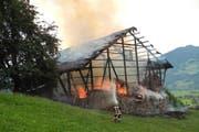 Die Flammen zerstören den Stall. (Bild: Kantonspolizei Schwyz)