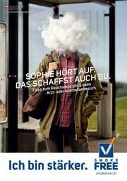 Plakat der Tabakpräventionskampagne des Bundes mit der Aufschrift «Sophie hört auf. Das schaffst auch du». (Bild: Plakat Bundesamt für Gesundheit)
