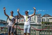 Mario Gyr und Simon Schürch werden von der Stadt Luzern offiziell empfangen. (Bild: Dominik Wunderli / Neue LZ)