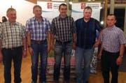 Die neue Führung der Biosphäre Berg-Käserei Entlebuch AG: (von links) Vizepräsident Toni Schmid, Käser Beat Schmid, Käser Beat Koch, Käser Michael Duss und Präsident Adrian Zemp.