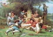 Ein friedenstiftendes Mahl: Beim Ersten Kappelerkrieg sollen sich Zürcher Reformierte und Innerschweizer Altgläubige bei einer Milchsuppe verbrüdert haben. (Bild: Gemälde von Albert Anker (1869))