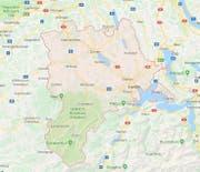 Der Kanton Luzern (rot umrissen). (Bild: googlemaps.ch)