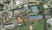 In Pfäffikon soll das Schulgelände mit neuen Bauten erweitert werden (blau). (Bild: PD)