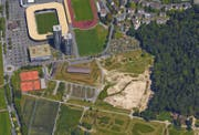 In diesem Gebiet auf der Allmend wird der Horwer Dorfbach renaturiert. (Bild: Google Maps)