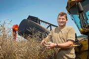 Toni Birrer auf seinem Rapsfeld in Egolzwil. Der Bauer hat zurzeit alle Hände voll zu tun. (Bild Dominik Wunderli)