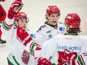 Nicolas Müller beim Jubeln am IIHF Junior World Cup in Jekaterinenburg. (Bild: pd)