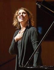 Die Pianistin Gabriela Montero bei ihrem Auftritt im KKL. (Bild: Priska Ketterer/Lucerne Festival)