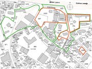 Die Karte zeigt den Prüfperimeter (grün) sowie den Sanierungsperimeter (rot). (Bild: PD)