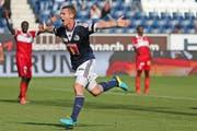 Oliver Bozanic erzielte gegen den FC Sion den entscheidenden Treffer zum 1:0. (Bild: Phiilipp Schmidli / Neue LZ)