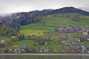 Auf der Wiese um das Kinderheim Lutisbach (blaues Haus) entstehen Lutisbach-Residenz und Lutisbach-Park. Gleich rechts darüber, zwischen den beiden Bauernhöfen, wird die Überbauung Erliberg erstellt. (Bild Stefan Kaiser)
