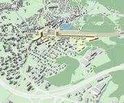 Das Gebiet rund um den Bahnhof Arth-Goldau (gelb eingefärbt) soll gezielt entwickelt werden und der Bahnhof zur wichtigsten Drehscheibe im öffentlichen Verkehr im Kanton Schwyz ausgebaut werden. (Bild: Grafik: PD)