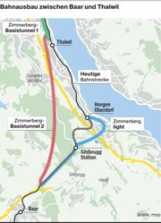 Hier soll der Zimmerberg-Basistunnel II entstehen. (Bild: Grafik: mop)