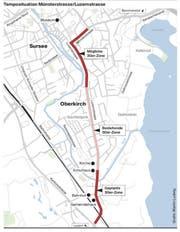 Für die rot eingefärbten Abschnitte wird die Einführung von Tempo 30 gefordert. (Bild: Grafik: Martin Ludwig)