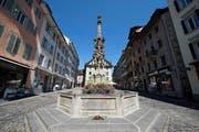 Müssen saniert werden: der Weinmarktbrunnen (Bild: Dominik Wunderli)