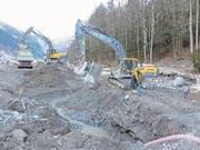 Arbeiten zum Hochwasserschutz Engelbergeraa im Bereich Bänklialp. (Bild: PD (Engelberg, 15. Dezember 2016))