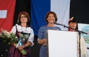 «Niemand will die Schweiz an die EU verschachern»: Bundespräsidentin Doris Leuthard an der Feier in Luzern. (Bild: Corinne Glanzmann (Luzern, 31. Juli 2017))