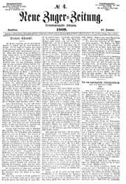 """Die Frontseite der """"Neuen Zuger-Zeitung"""" vom 25. Januar 1868."""