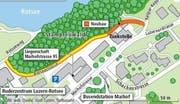 Das geplante Strassenstück ist die Verlängerung der Rotseestrasse bis zur Kaspar-Kopp-Strasse. (Bild: Grafik Neue LZ)