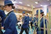 Die neuen Uniformen der Feldmusik Malters kamen beim Fest in der Sporthalle Oberei gut an. (Bild: Corinne Glanzmann (10. September 2017))