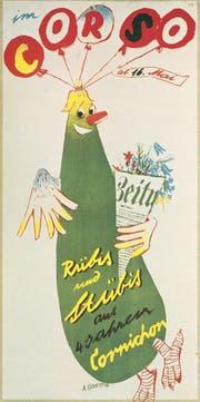 1938 entwarf Carigiet den Essiggurken-Vogel als Signet für Plakate und Programmhefte des Schweizer Kabarettensembles «Cabaret Cornichon», welches er mitgründete. (Bild: Stadtarchiv Zürich/Alois Carigiet Erben)
