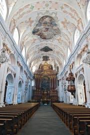 Deckengewölbe, Wände und Pfeiler der Jesuitenkirche in Luzern sollen nächstes Jahr saniert werden. (Bild Boris Bürgisser)