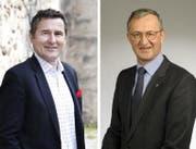 Die beiden Kandidaten der SVP für den Zuger Stadtrat: André Wicki (links) und Philip C. Brunner. (Bilder: Stefan Kaiser / PD)