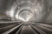 Noch ist der Gotthard-Basistunnel leer. Bald wird er mit einer grossen Feier eröffnet werden. (Bild: Keystone / Christian Beutler)
