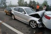 Am 24. September 2012 prallten sechs Autos ineinander. (Bild: Luzerner Polizei)