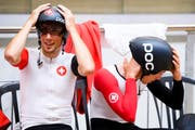 Olivier Beer, links, und Gael Suter, rechts, vom Schweizer Bahnrad-Team. (Bild: Manuel Lopez)