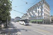 Unterhalb des Schweizerhofquais soll ein Parkhaus für Cars und Autos entstehen. (Bild: Dominik Wunderli (Luzern, 18. August 2017))