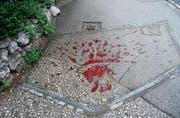 Mit rotem Harz ausgegossene Einschlaglöcher von Granaten auf den Strassen von Sarajevo werden Blutrosen genannt. (Bild: Rudolf Gruber)
