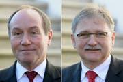 Treten im Frühling 2018 nicht mehr an: Die Obwaldner Regierungsräte Niklaus Bleiker (links) und Franz Enderli. (Bilder: Urs Flüeler / Keystone (Sarnen, 17. Dezember 2013))