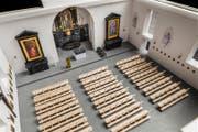 So wird sich der Chorbereich der Luzerner Peterskapelle nach der Sanierung präsentieren. (Bild: Visualisierung PD)