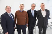 Die neue Führung: Giuliano Otth, CEO Crypto AG und Crypto Schweiz AG (links), Andreas Linde, Verwaltungsratspräsident Crypto International Group, Robert Schlup, Verwaltungsratspräsident Crypto AG und Crypto Schweiz AG, Anders Platoff, CEO Crypto International Group. (Bild: Patrick Senn/PD)