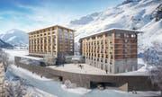 Frontansicht des Radisson-Blu-Hotels in Andermatt. (Bild: Visualisierung: PD)