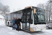 «Dominique Gisin» heisst der nigelnagelneue Bus auf der Linie 4 in Engelberg. (Bild: PD)