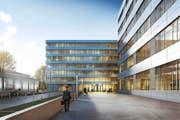So präsentiert sich der Haupteingang des Siemens Campus wohl ab 2018. (Bild: Visualisierung PD)