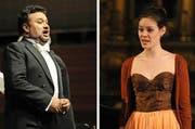 Von der Met in New York und aus Turin ans Luzerner Theater: Der mexikanische Tenor Ramon Vargas (55) und die Luzerner Sopranistin Regula Mühlemann (29). (Bilder pd/Corinne Glanzmann)