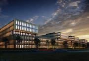 Die zwei obersten Geschosse jedes Gebäudes schweben wie eingerahmte Schaufenster über dem Sockel. (Bild: Visualisierung PD)