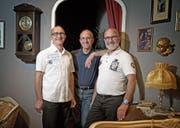 Die Drillinge Pius, Roland und Thomas Andereggen (von links) engagieren sich seit Jahren für die Theatergruppe St. Karl. (Bild: Corinne Glanzmann (Luzern, 21. April 2017))