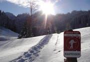 Eines der Hinweisschilder auf den Schneeschuh-Trail bei Luthern. (Bild pd)