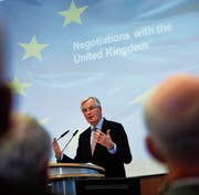 EU-Chefunterhändler Michel Barnier bei einem Vortrag in Berlin. (Bild: Felipe Trueba/EPA (29. November 2017))