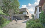 Mit dem Bau einer neuen Mehrzweckhalle (links) will sich die Gemeinde Greppen für die Zukunft rüsten. (Bild: Visualisierung: PD)