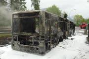 Vom Bus blieb nach dem Feuer nur noch das Gerippe übrig. (Bild: Luzerner Polizei)